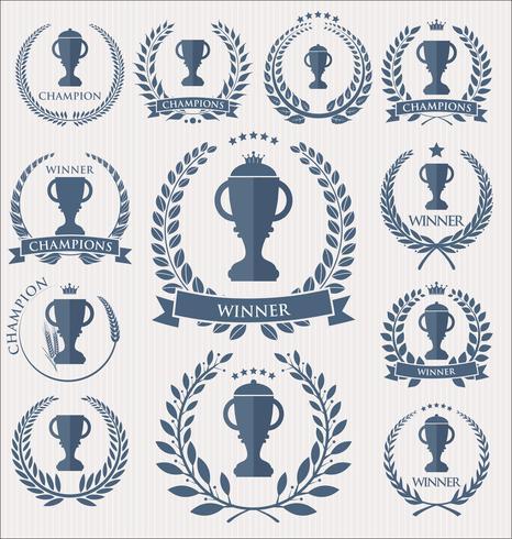 Troféu e prêmios de crachás e coleção de rótulos vetor