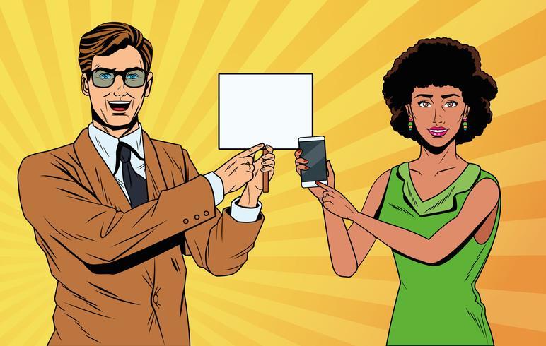 Casal de negócios de arte pop vetor