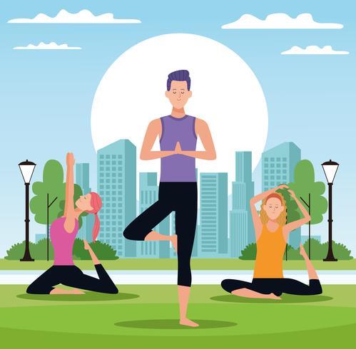 pessoas fazendo yoga vetor