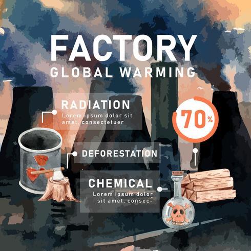 Aquecimento global e poluição, salvar o mundo, estatística de dados infográfico presentes, design criativo modelo de ilustração de aquarela vector