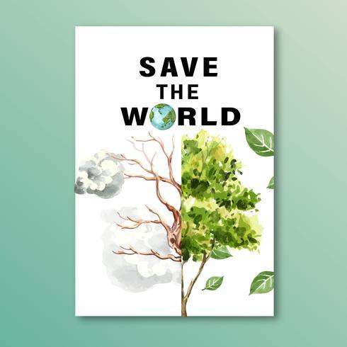 Aquecimento Global e Poluição. Cartaz panfleto folheto campanha publicitária, salvar o design de modelo do mundo, design criativo de ilustração vetorial aquarela vetor