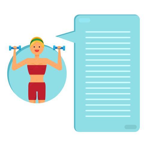 Garota feliz fitness vetor