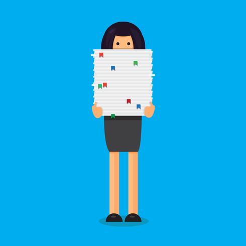 Trabalhador, com, pilha papel vetor