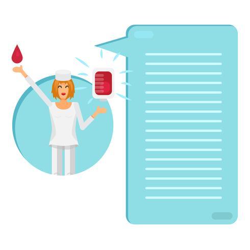 Enfermeira com bolsa de sangue vetor