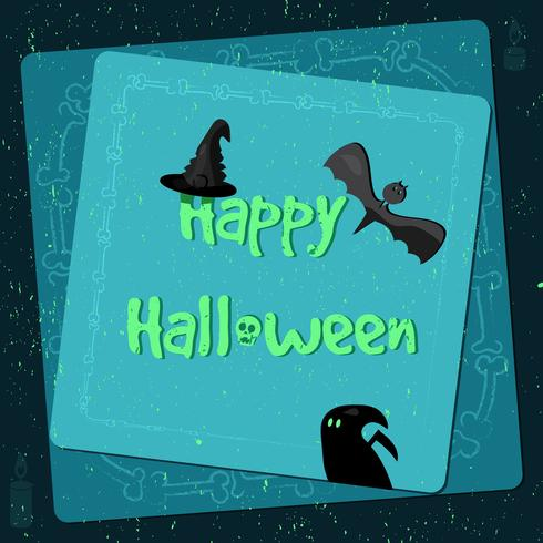 Cartaz de Halloween, bandeira brilhante, cartão no estilo grunge vetor
