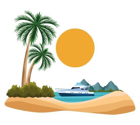 desenho de paisagem do litoral vetor
