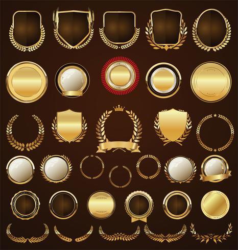 Emblemas de ouro rótulos laurels e fitas coleção vetor