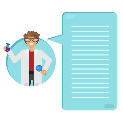 Cientista, aprendizagem, substância, em, flask vetor