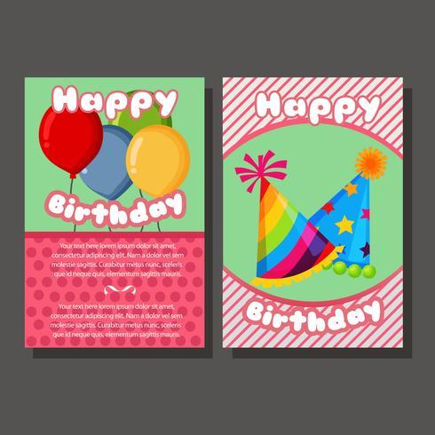 cartão bonito do molde do feliz aniversario dois vetor