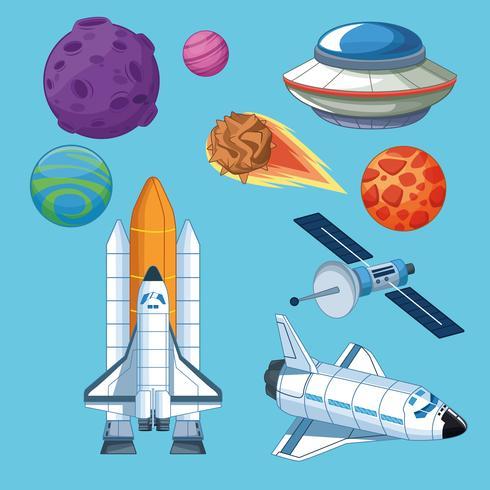 Planetas de espaçonaves e ícones de satélite vetor