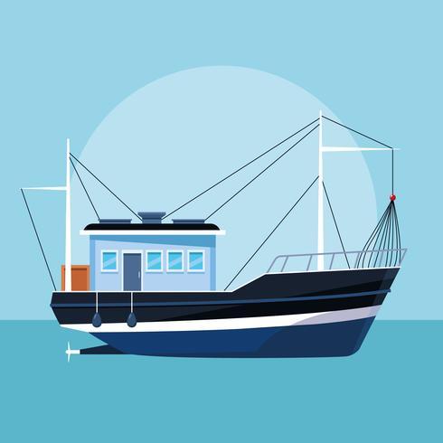 desenho de barco de pesca vetor