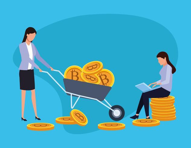 bitcoin de mineração digital vetor