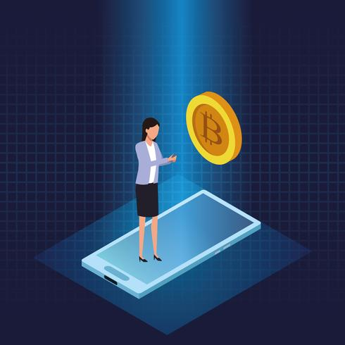 Tecnologia de criptomoeda Bitcoin vetor