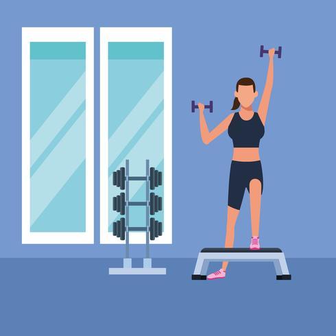 mulher de fitness fazendo exercício vetor