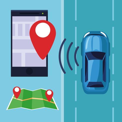 conceito de serviço de carro de localização de gps vetor