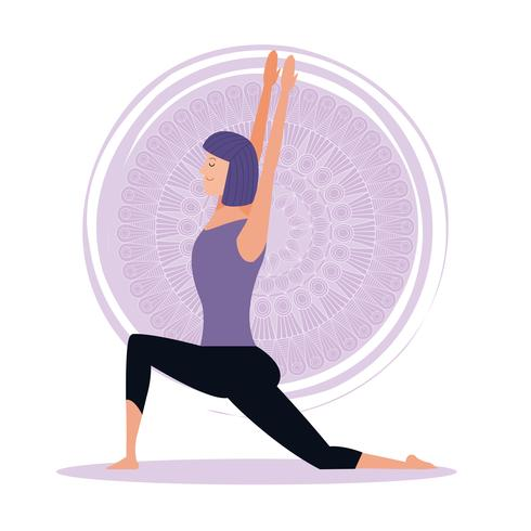 mulher em poses de ioga vetor