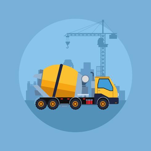 desenho de veículo de construção vetor