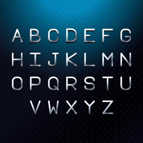 Alfabeto de letras de fonte prata vetor