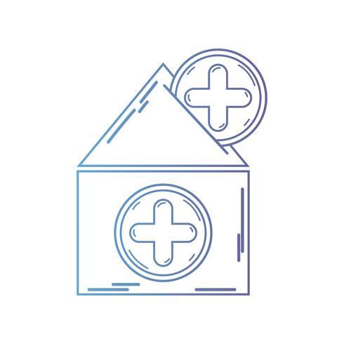 linha casa sangue dotaion com cruz símbolo vetor
