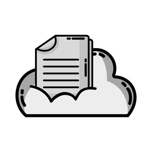 dados em nuvem em tons de cinza com informações de documento digital vetor