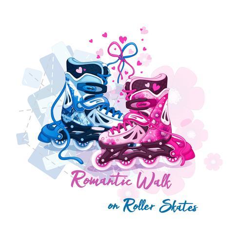 Romantically amarrado mens e womens roller patins. Adoro andar de patins. Lazer esportivo para pessoas ativas. Ilustração vetorial vetor
