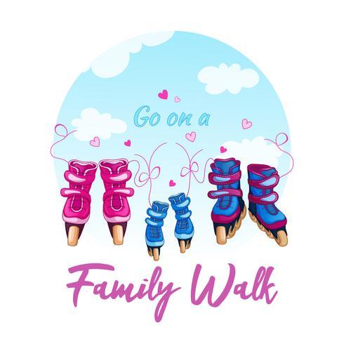 Ilustração de uma caminhada da família em patins de rolo. Patins de mulheres, homens e crianças amarrados com laços contra um céu azul vetor