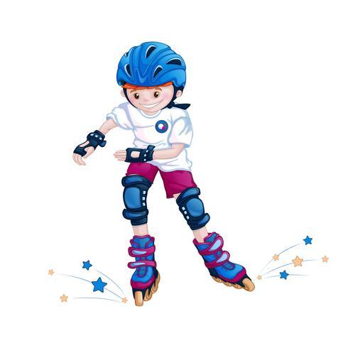 Adolescente do menino que patina em um capacete, em almofadas de cotovelo e em joelheiras. Personagem infantil de desenhos animados de esportes. vetor