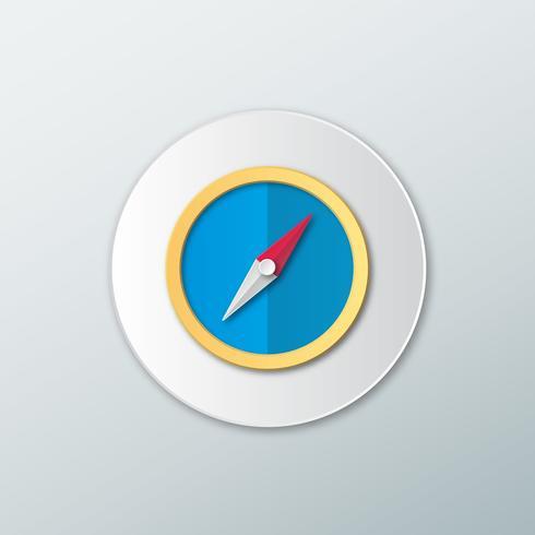ícone de bússola em um estilo simples vetor