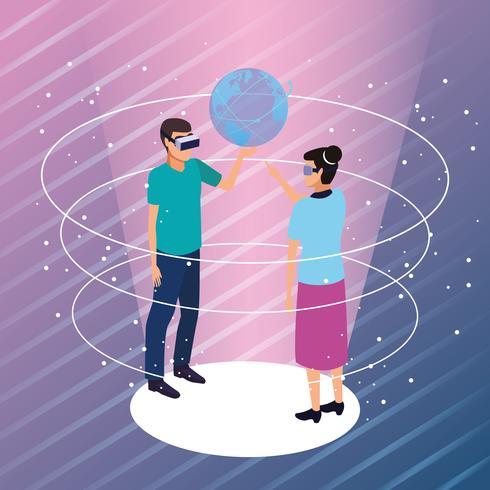 Par, tocando, com, virtual, realidade vetor