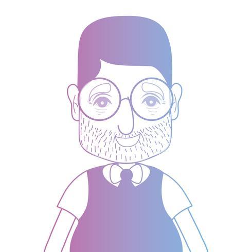 homem de avatar de linha com penteado e t-shirt vetor