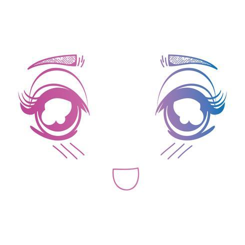 linha anime menina rosto expressão vetor