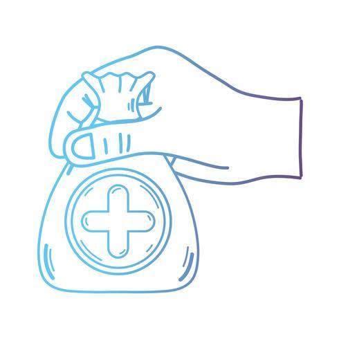 mão de linha com dotação de saco com o símbolo de coração e cruz vetor
