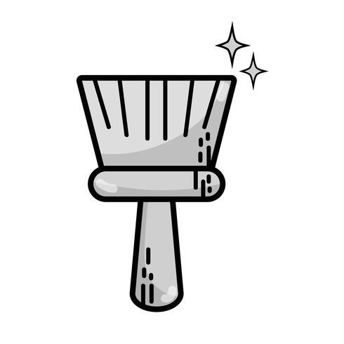 equipamento de varrer a vassoura em tons de cinza para limpar a casa vetor