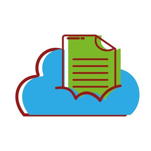 dados em nuvem com informações de documento digital vetor