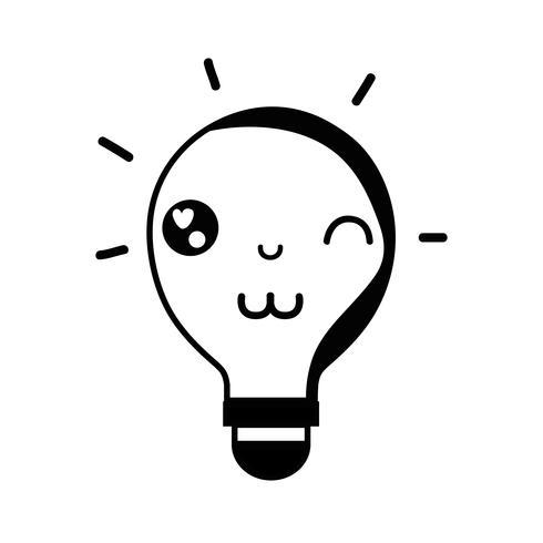 ideia engraçada bonito do bulbo do kawaii do contorno vetor
