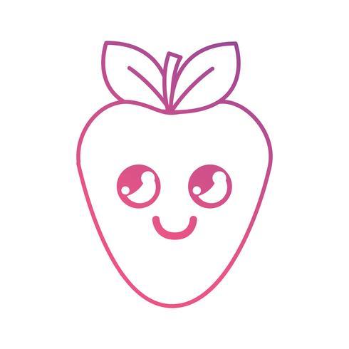linha kawaii bonitinho morango feliz vetor