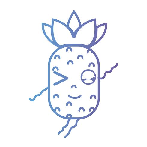 linha kawaii bonito feliz abacaxi fruta vetor