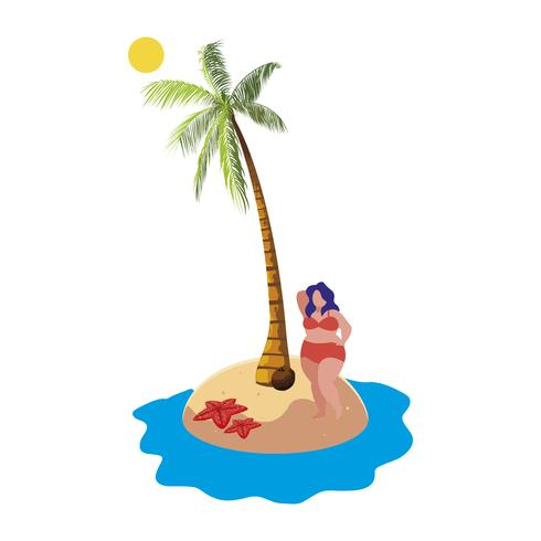 jovem mulher grande na cena do verão praia vetor
