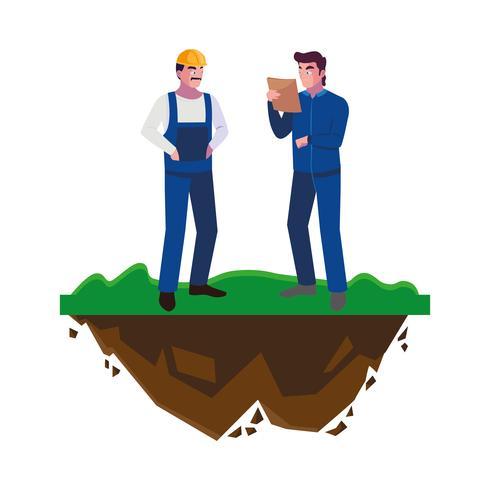 construtores masculinos construtores trabalhadores no gramado vetor