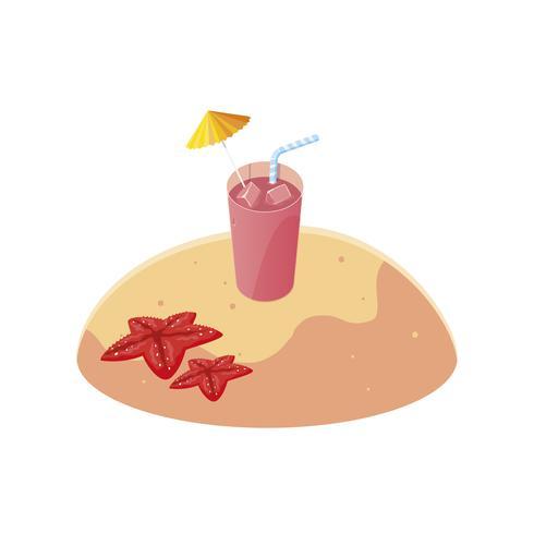 praia de areia de verão com cena cocktail vetor