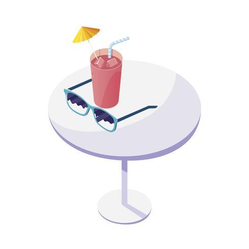 mesa com suco de frutas e óculos de sol vetor