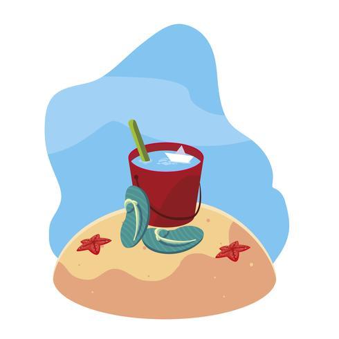 praia de areia de verão com cena de chinelos vetor