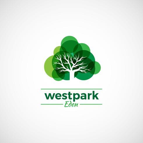 Logotipo da árvore colorida vetor