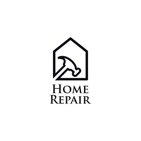 Logotipo de arte linha reparação em casa vetor