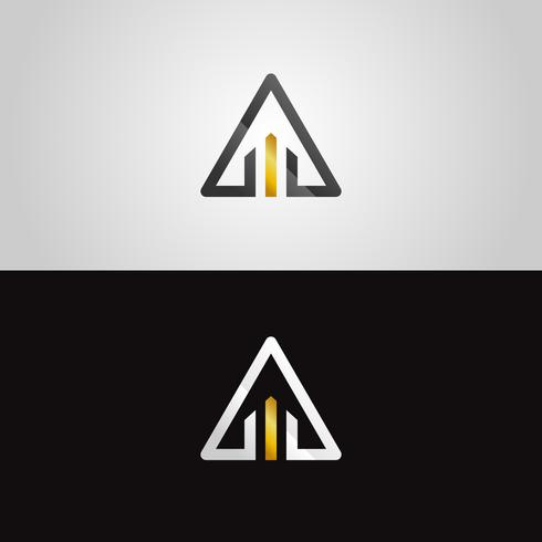 Logotipo abstrato do triângulo do Ouro-Prata vetor