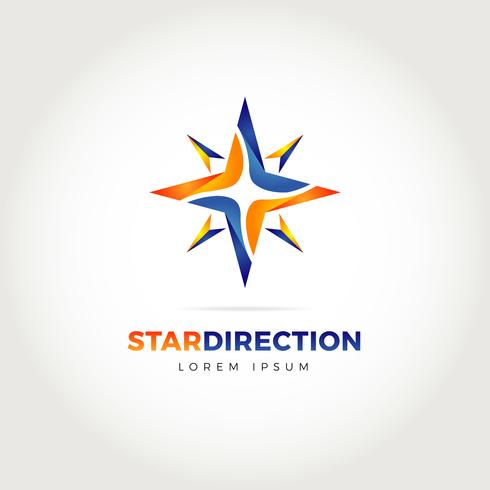 Logotipo da direção da estrela vetor