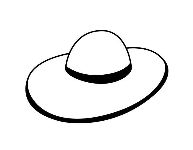 ícone de acessório de chapéu de palha de verão vetor