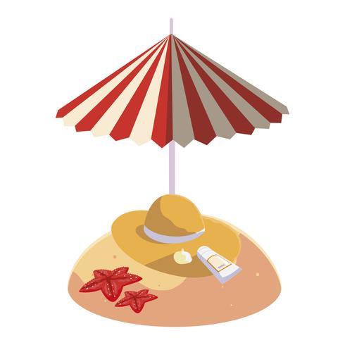 praia de areia de verão com guarda-chuva e chapéu de palha vetor