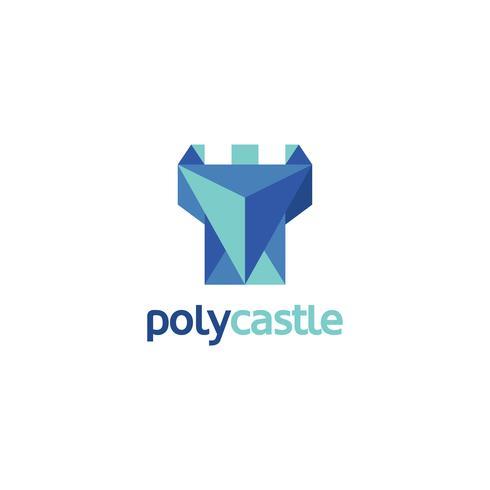 Logotipo do castelo abstrato azul vetor