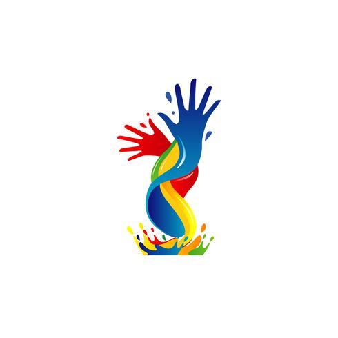 Logotipo de pintura colorida de mão vetor